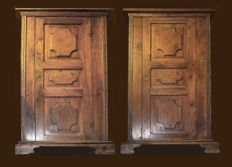 Two identical walnut cabinets - Siena, Italy - 17th century