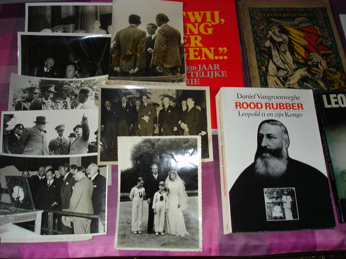 Belgian royals - lot of 4 books about the royal family and9 original press photos of Leopold (including one with professor Picard)