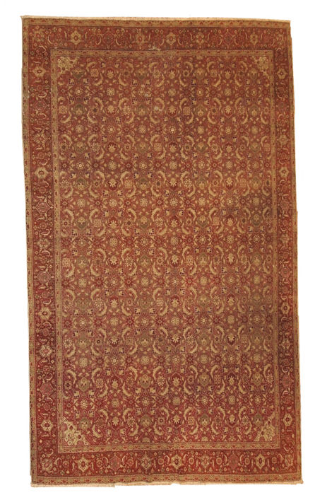 Hand made antique Indian Amritsar rug 6.11' x 9.7' ( 216cm x 295cm ) 1900s