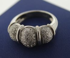 18 kt White gold ring inlaid with diamond – ring size: 17.25