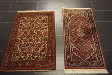 Oriental carpet Indo Bidjar Herati 82 x 120cm / 63 x 125cm, made in India at the end of the last century, carpet rug Tappeto Tapis Tapijt