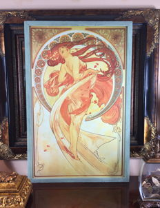 """Dance"" by Alphonse Mucha (1898) - Extra large wooden framed print - 1970's decade"