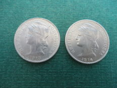 Portugal - 50 cent coins, 1913-1914 (two pieces)
