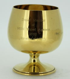 Gilded silver wine glass with initials - Camelot Silverware Ltd - Sheffield - 2001