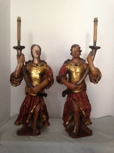 A pair of large candle bearing figures in polychrome and gilt pine wood - Spain - second half of 18th century