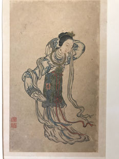 A drawing of moon goddess Chang-e 嫦娥 - China - 19th century