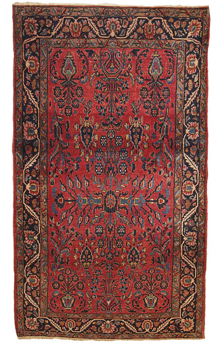 Hand made antique Persian Sarouk rug 4.4' x 6.6' ( 134cm x 201cm ) 1900s