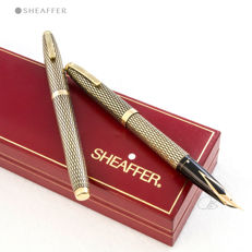 Sheaffer Imperial Sovereign 14kt Gold filled Diamond Guillochè Rollerbal and Fountain Pen Set | Rare and Highly Collectable