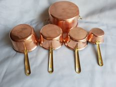Set of 5 very small marked red copper sauce pans