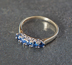 14 K Gold Memory / Memoire Ring with 5 Sapphire of 0,5 ct RS 55/ 17,5mm ∅ / US 7,5