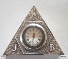 5. Les.Fr. ESQUIVILLON DE DECHOUNDENS – silver - triangular verge clock - Freemasons - Masonic - engraved by a master around 1780.