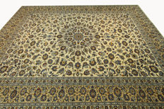 Fine Persian carpet, Kashan, 4.06 x 3.06 m, cream, genuine hand-knotted oriental carpet, top condition, no. 97