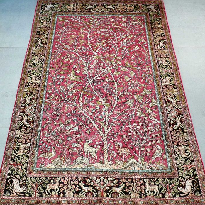 Gorgeous semi-antique tree of life Ghom Persian carpet – 152 x 102 – 1,000,000 kn/m2 – with certificate