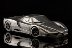 Unique silver tin sculpture of the Ferrari Enzo  	24 x 11 x 6 cm