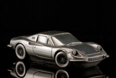 Unique silver tin sculpture of the Ferrari Dino  22 x 9 x 5 cm