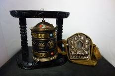 Bronze Tibetan prayer wheel and Ghau - Nepal - Early 21st century.