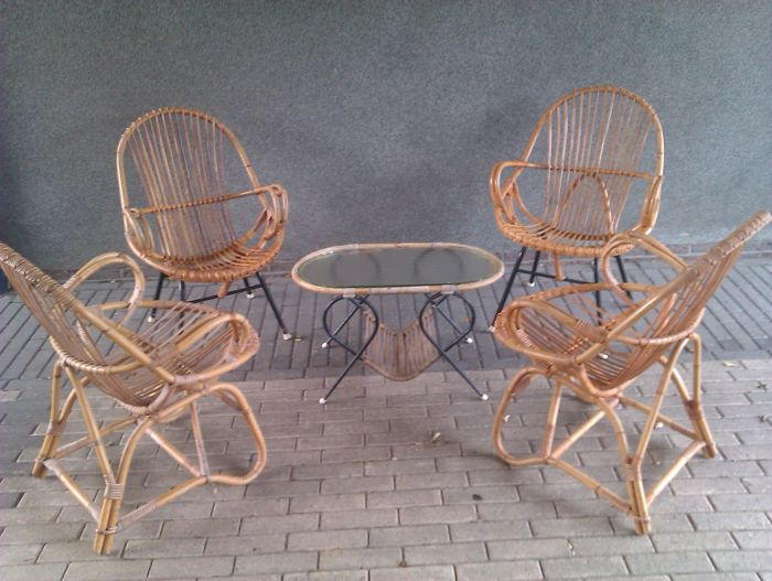 Unknown producer lot vintage rattan furniture 4 lounge for Furniture 4 a lot less