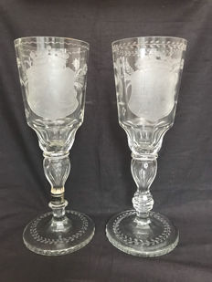 A few large cut crystal goblets with coat-of-arms, the Netherlands, first half 19th century