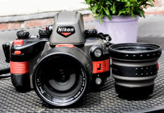Nikon RS underwater single-lens reflex camera including the lenses 2.8/28 mm Nikon and the 2.8/50 mm micro Nikkor and SB 105 speedlight
