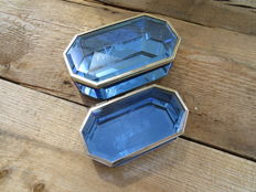 2 Jewellery boxes of blue cut glass