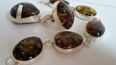 Silver Amber bracelet, pendant and ring set 100 %  Baltic Amber, length 20 cm