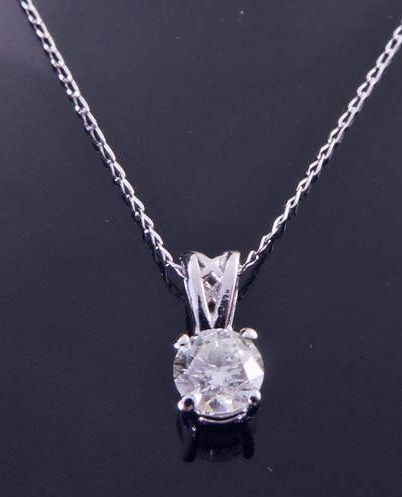 White gold 18 kt solitaire pendant with one brilliant cut diamond of 0.30 ct *** No minimum price ***