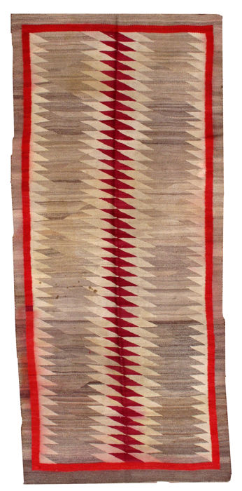 Hand made antique American-Indian navajo rug 4.2' x 9.2' ( 128cm x 280cm) 1900s