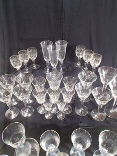 A batch of 36 wine crystal glasses and decanter, vintage France and Italy.