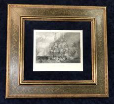 The Battle of Trafalgar , Engraving  1860 ca after JMW Turner