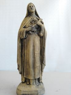 Antique terracotta sculpture of Saint Theresa signed G.A.  D., Italian, early 20th century