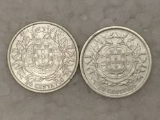 Portugal – 2 x 20 Centavos coins – 1913 and 1916 – silver