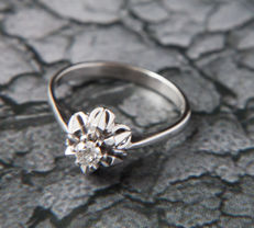 Solitaire engagement Ring with Diamond in brillant cut of c. 0.17 Ct, 14 K white Gold RS 58 / 18,5mm ∅ /US 8,5