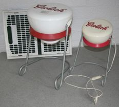 Grolsch Plop design table lamp, side table and folding crate - Second half 20th century.