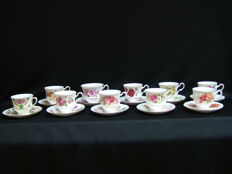 10 Cups and saucers - English porcelain - Queen Anne