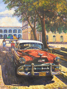 Chevrolet Bel Air early 1950's in Cuba - oil on canvas - (20th c.)