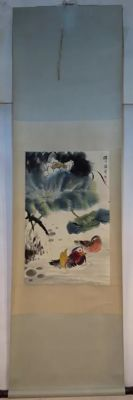 A Hand-painted ink scroll painting - China - 2nd half 20th century