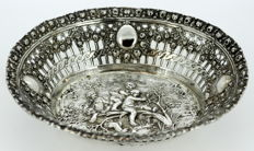 Antique German silver bonbon dish with children and floral engravings, ca.1890