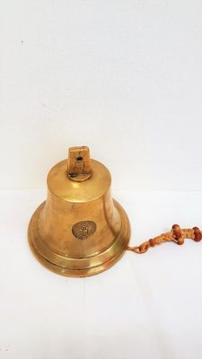 Antique brass ship's bell with company stamp (reproduction from 1839)
