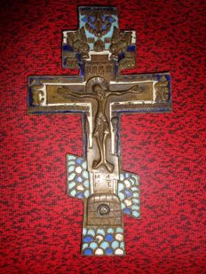Former Russian Orthodox Cross - Bronze and Enamel - Very Beautiful