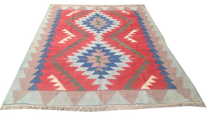 Vintage Turkish Handwoven Kelim Carpet Area Rug 241 cm x 175 cm