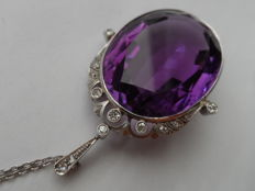 Unique Platinum Art Deco Necklace with  Amethyst and Diamonds 1920s/1930s