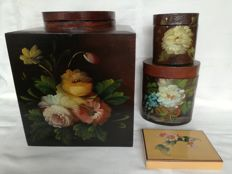 Wooden decorative / storage boxes, painted with flowers.