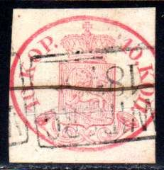 Finland - 1856 - coat of arms 10 copecks red Michel 2x