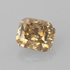 1.10 ct cushion cut diamond Fancy deep brownish yellow Natural colour SI1  ** NO RESERVE PRICE **