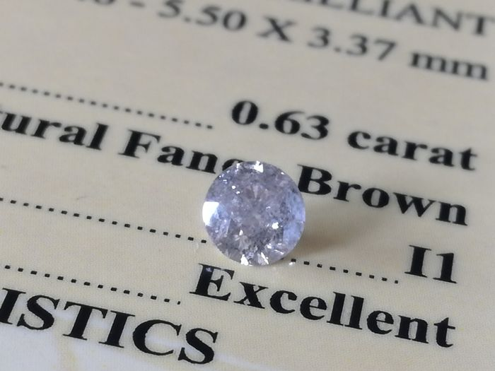 Diamond – 0.63 ct -  Natural Fancy Brown / I1 - EXC/EXC/EXC ** No Reserve **