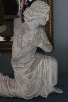 Large classic wood-carved statue of a kneeling angel - France - 2nd half of 19th century