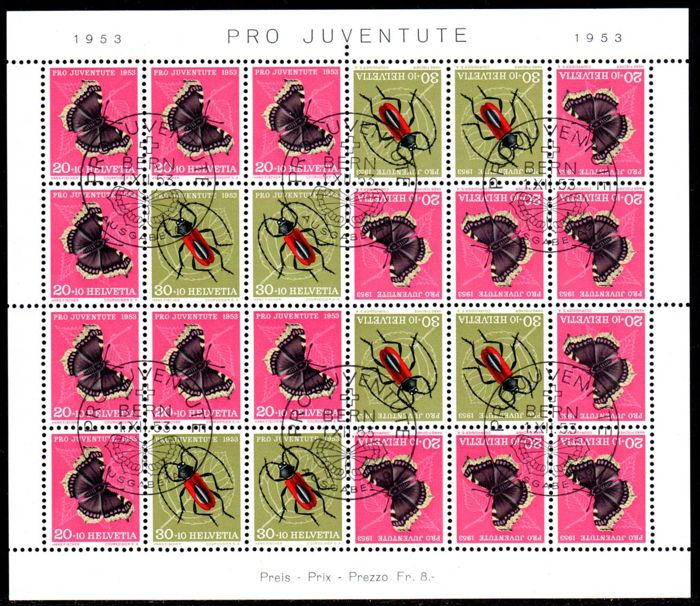 Switzerland 1953 - Pro Juventute stamp booklet. With first day cancellation - Michel MHB 42
