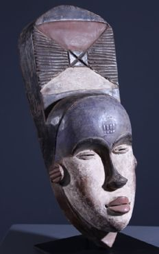 tribal mask SOGHO, origin GABON, wood