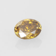 1.06 ct. Oval modified brilliant Fancy Deep Brown-Yellow natural colour VS2