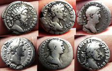 Roman Empire - lot of 6 silver denarii ( Trajan,Hadrian,Marcus Aurelius,Commodus,Antoninus Pius)
